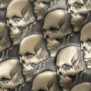 Embossed Gold Leather Skulls