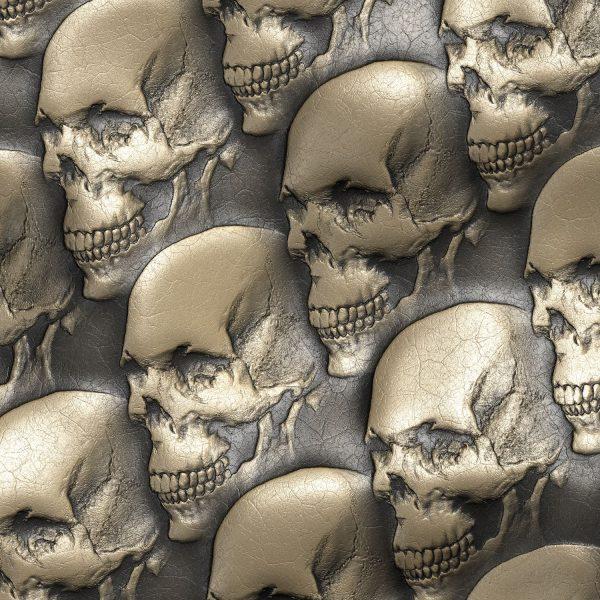 Embossed Gold Leather Skulls